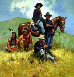 Кавалеристы армии США и индейцы -скауты